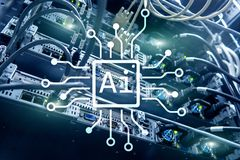 AI, Sztuczna inteligencja, automatyzacja i nowożytny technologie informacyjne pojęcie na wirtualnym ekranie, zdjęcie stock