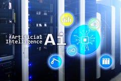 AI, Sztuczna inteligencja, automatyzacja i nowożytny technologie informacyjne pojęcie na wirtualnym ekranie, fotografia royalty free