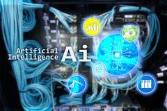 AI, Sztuczna inteligencja, automatyzacja i nowożytny technologie informacyjne pojęcie na wirtualnym ekranie, obrazy royalty free