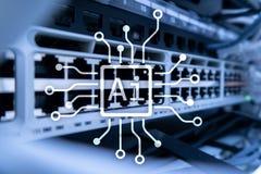 AI, Sztuczna inteligencja, automatyzacja i nowożytny technologie informacyjne pojęcie na wirtualnym ekranie, obrazy stock