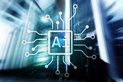 AI, Sztuczna inteligencja, automatyzacja i nowożytny technologie informacyjne pojęcie na wirtualnym ekranie, zdjęcia stock