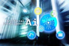 AI, Sztuczna inteligencja, automatyzacja i nowożytny technologie informacyjne pojęcie na wirtualnym ekranie, obraz stock