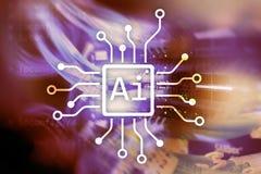 AI, Sztuczna inteligencja, automatyzacja i nowożytny technologie informacyjne pojęcie na wirtualnym ekranie, obraz royalty free