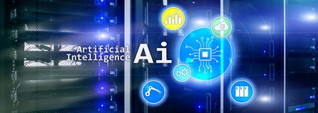 AI, Sztuczna inteligencja, automatyzacja i nowożytny technologie informacyjne pojęcie na wirtualnym ekranie, royalty ilustracja