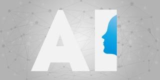 AI, Sztuczna inteligencja, Głęboki uczenie i przyszłości technologii pojęcia projekt, - Wektorowa ilustracja obrazy royalty free