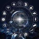 AI, Sztuczna inteligencja konceptualna kolejnego pokolenia techno zdjęcia stock