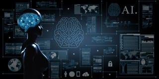 AI, Sztuczna inteligencja konceptualna kolejnego pokolenia techno zdjęcia royalty free