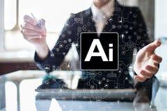 AI - Sztuczna inteligencja, Mądrze innowacja w przemysłu biznesie, technologia i życia pojęcie na wirtualnym ekranie, zdjęcia royalty free