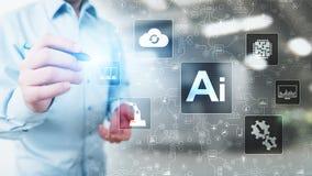 AI Sztuczna inteligencja, Maszynowy uczenie, Duża dane analiza i automatyzacji technologia w biznesie na wirtualnym ekranie, fotografia royalty free