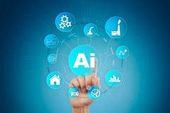AI, Sztuczna inteligencja, maszynowy uczenie, neural sieci i nowożytni technologii pojęcia, IOT i automatyzacja obrazy royalty free