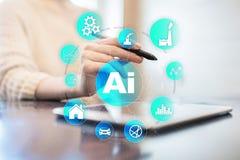 AI, Sztuczna inteligencja, maszynowy uczenie, neural sieci i nowożytni technologii pojęcia, IOT i automatyzacja zdjęcie stock