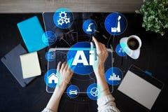 AI, Sztuczna inteligencja, maszynowy uczenie, neural sieci i nowożytni technologii pojęcia, IOT i automatyzacja fotografia stock