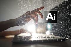 AI, Sztuczna inteligencja, maszynowy uczenie, neural sieci i nowożytni technologii pojęcia, IOT i automatyzacja obraz royalty free