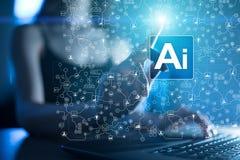 AI, Sztuczna inteligencja, maszynowy uczenie, neural sieci i nowożytni technologii pojęcia, IOT i automatyzacja zdjęcie royalty free