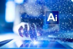 AI, Sztuczna inteligencja, maszynowy uczenie, neural sieci i nowożytni technologii pojęcia, IOT i automatyzacja zdjęcia stock