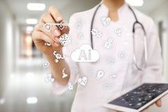 AI, sztuczna inteligencja w nowożytnej medycznej technologii, IOT i automatyzacja zdjęcie stock