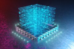 AI - sztucznej inteligencji pojęcie Hologram nad jednostka centralna Maszynowy uczenie Środkowego komputeru procesory na obwodzie ilustracja wektor