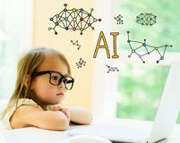 AI text with little girl. Using her laptop royalty free stock image