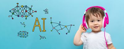 AI theme with toddler boy with headphones. On a blue background stock illustration