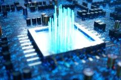 AI - unité centrale de traitement de concept d'intelligence artificielle Apprentissage automatique Processeurs d'ordinateur centr illustration de vecteur