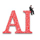 AI word of huge amount letters numbers with businessman sitting. Big data application in artificial intelligence concept. Businessman using digital tablet and royalty free stock photos