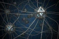 AI y concepto nano de la tecnología 3D rindió el ejemplo de la red neuronal artificial Fotos de archivo libres de regalías