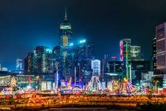 AIA Wielki Europejski karnawał trzyma w zimie w Hong Kong Zdjęcia Royalty Free