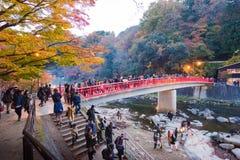AICHI - NOVEMBER 23: Folkmassa av folk på den röda bron med färgrika Aut Arkivfoto