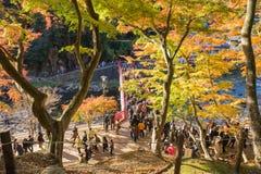 AICHI, - 23 NOVEMBRE: Folla della gente sul ponte rosso con Au variopinto Fotografie Stock