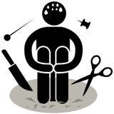 Aichmophobia phobia O medo de objetos afiados ou aguçados Logotipo, ícone, silhueta, etiqueta, sinal Homem de Afraided ilustração royalty free