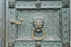Aicient bronze medieval door knocker Royalty Free Stock Images