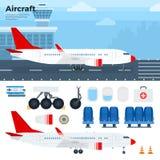 Aicraft moderno che sta nell'aeroporto Immagine Stock