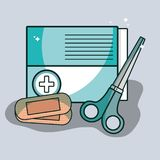 Aid band box with scissor pharmacy tools. Vector illustration Royalty Free Stock Photos