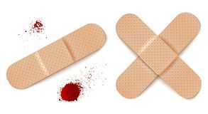 Aid bandages and blood drops. Vector set illustrations of band aids. Vector set aid bandages and blood drops Royalty Free Stock Photos