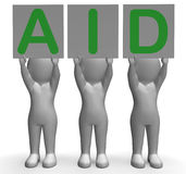 Aid Banners Shows First Aid Assistance And Support Stock Photo