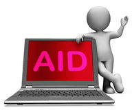Aid And Character Laptop Shows Assisting Aiding Helping Or Relie Royalty Free Stock Images