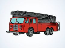 Fire truck. Vector drawing. 911 aid diesel drive van squad on white road backdrop. Bright red color hand drawn big lorry siren gear emblem logo sketchy in modern Royalty Free Stock Photo