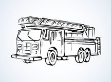 Fire truck. Vector drawing. 911 aid diesel drive van squad on white road backdrop. Freehand outline black ink hand drawn big lorry siren gear emblem logo sketchy stock illustration