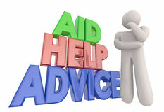 Aid Help Advice Support Assistance Thinker Stock Photo