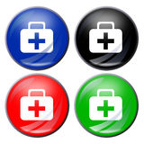 Aid kit button. Illustration of a first aid kit button in four colors Royalty Free Stock Image