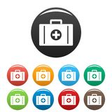 Aid kit icons set color vector. Aid kit icon. Simple illustration of aid kit vector icons set color isolated on white Stock Photo