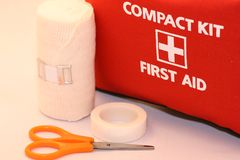 Aid kit with medical tools Royalty Free Stock Photography