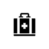 Aid kit vector icon. On grey background Stock Photo