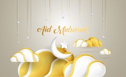 Aid Mubarak beautiful greeting card with golden clouds, moon, st stock illustration