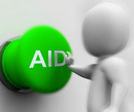 Aid Pressed Shows Rescue Assistance Or Relief Royalty Free Stock Images