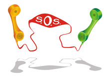Aid Service Line. Two phone receiver with SOS grown from the cord Stock Photo