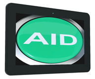Aid Tablet Means Help Assist Or Rescue Royalty Free Stock Photo