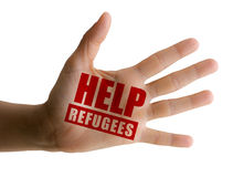 Aid to refugees, aid to migrants, open hand Royalty Free Stock Images