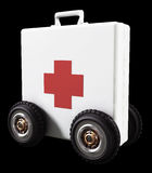Aid on Wheels. A 3D first aid kit on wheels isolated on black Stock Image