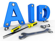 Aid Word Means Info Helps And Answers Royalty Free Stock Photo